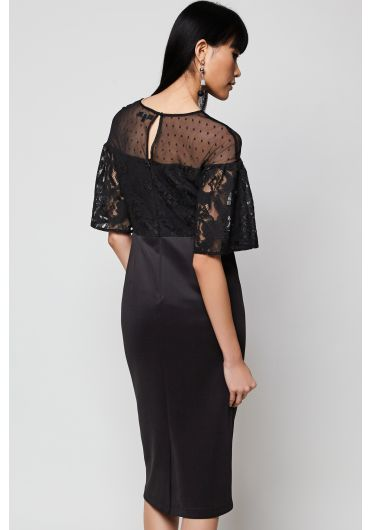 Netted Neckline Lace Dress