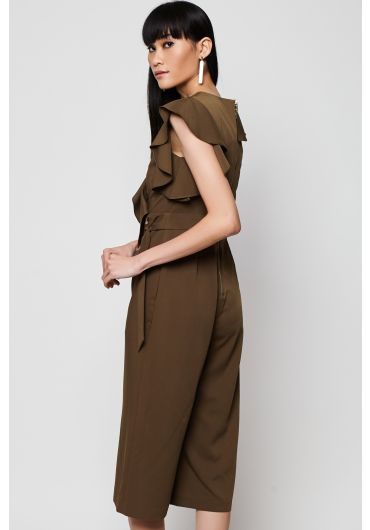 Asymmetrical Ruffle V-neck Jumpsuit