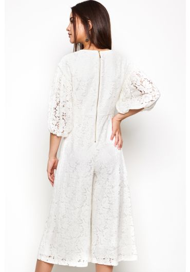 Balloon Sleeves Lace Jumpsuit