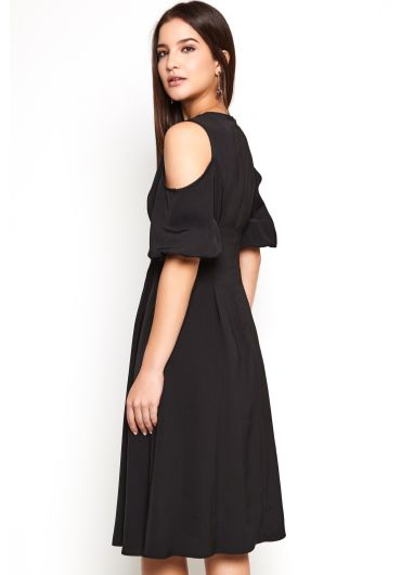 Cold Shoulder Puff Sleeve Dress