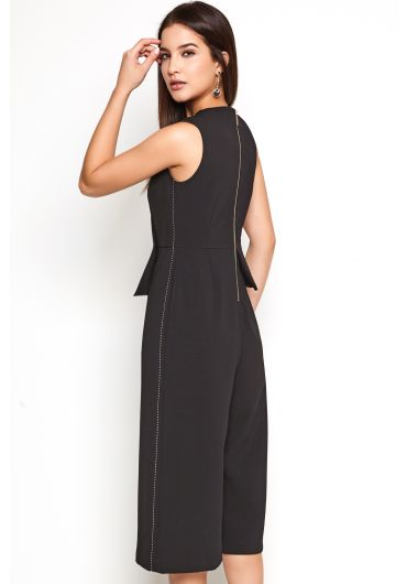 Contrast-Stitch Wide-Leg Jumpsuit