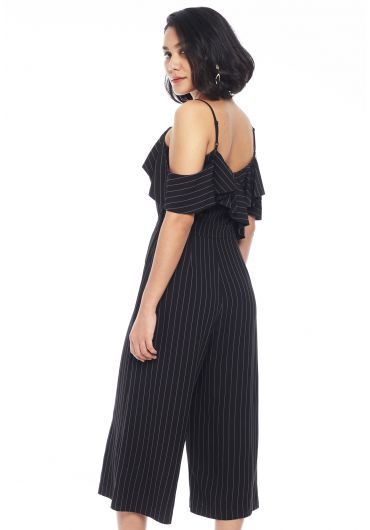 Front Ruffles Cold Shoulder Jumpsuit
