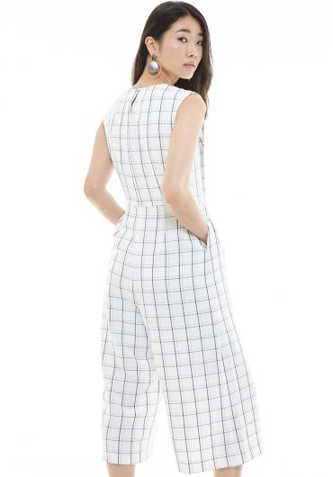 Window Pane Plaid Jumpsuit