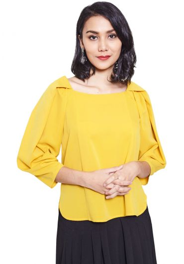 Pleated Raglan Sleeve Blouse