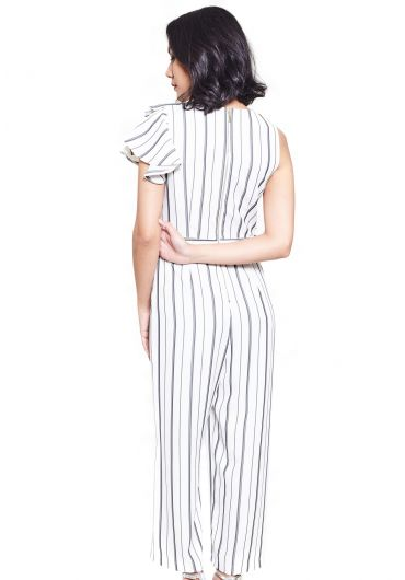 Ruffled Shadow Stripe Jumpsuit