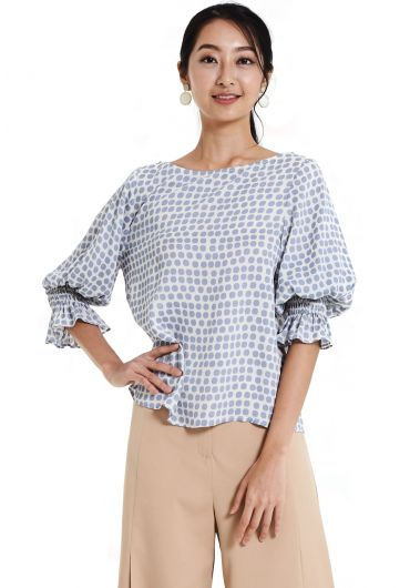 Printed Bishop Sleeve Blouse