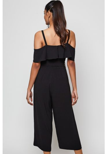 Cold Shoulder Tie Waist Jumpsuit
