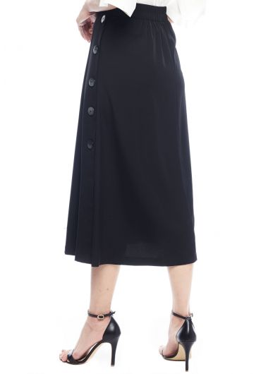 Godet Pleat Buttoned Skirt