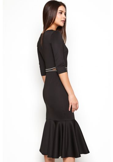 Embellished Waist Dress with Ruffled Hem