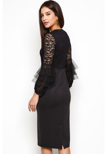 Lace Dress with Netting Detail