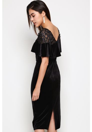Velvet Midi Dress with Lace Detail