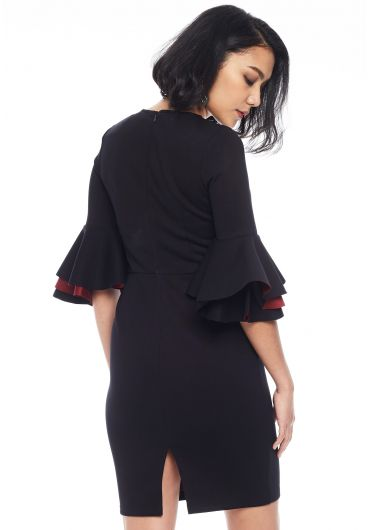 Flounce Sleeve Bodycon Dress