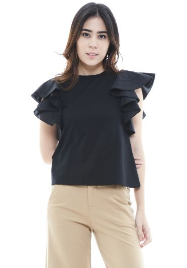 Ruffled Sleeve Basic Top
