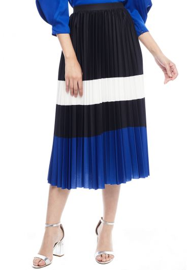 Muticoloured Accordion Pleats Midi Skirt
